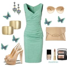 I'd need lower heels but love the dress/colors.
