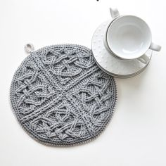 Crochet PATTERN Mandala with cables and celtic knots
