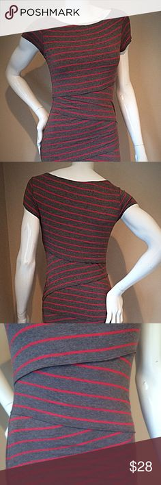 Bailey 44 coral and gray striped tiered dress sz S Bailey 44 size small coral and gray striped tiered jersey dress. Super comfortable and soft. Bust 15 inches, hips 15 inches, length 35 inches. 94% rayon, 6% spandex. Bailey 44 Dresses Mini