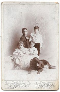 Early ID'd Jeannette, Penn. Cabinet Photo of Children and Dog ~ Theobald Family