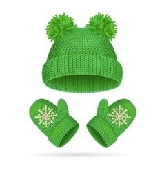 Hat with a Pompom and Mitten Set Royalty Free Vector Image Free Vector Images, Vector Free, Christmas Crafts, Christmas Decorations, Winter Clipart, Green Hats, Warm Outfits, Everyday Objects, Illustrations And Posters