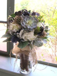 Succulent bridal bouquet.  flowers by Eden's Echo