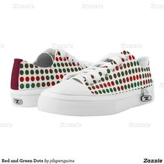 Red and Green Dots Printed Shoes