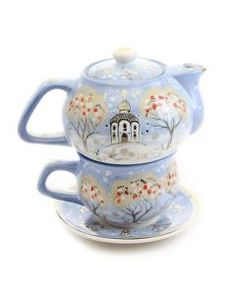 winter scenery ceramic tea set