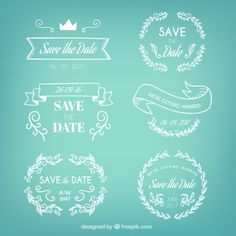 Set de insignias de boda dibujadas a mano  Vector Gratis