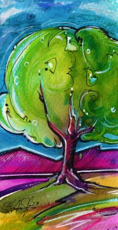 Tree abstract - watercolor ink acrylic by ©Kathy Morton Stanion (via Etsy)