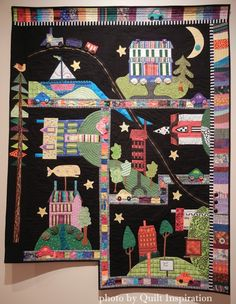 My Town by Ruth Peterson Ewers, from a class with Gwen Marston and Freddy Moran.  Photo by Quilt Inspiration. Best of the 2015 Springville (Utah) Quilt Show (part 2).