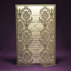 Laser Cut Wedding Invite - Damask - Thermography Printed