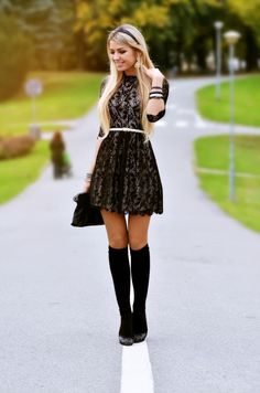 Cute.  Black flats and knee highs...love!  Black lace dress, thin white belt.