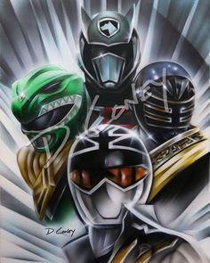 Original 6th Ranger Airbrush Canvas. Super Mega Force Silver, MMPR Green, SPD Shadow, Gold Zeo Rangers 16x20 inches