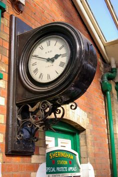 This clock is on the platform at Sheringham Station, part of the North Norfolk Railway (Poppyline). Charles Eames, Sistema Solar, Train Station Clock, Unusual Clocks, Time Clock, Grandfather Clock, Large Clock, Street Signs, Vintage Travel Posters