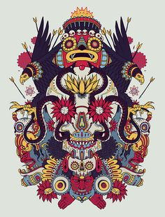 This is Best Graphic Design and Illustration in the world, made by the artist duo Raul Urias and mostasho. they are well-known artists with the illustrations and their work as well has an award in any art illustrations Skull Illustration, Graphic Design Illustration, Graffiti, Psychedelic Art, Psy Art, Aztec Art, Flash Art, Art Graphique, Mexican Art