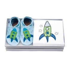 Zoom rocket embroidered baby pram shoes and sleepsuit gift set by Inch Blue