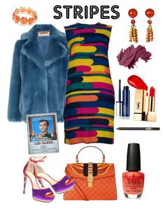 """STRIPES"" by klm62 ❤ liked on Polyvore featuring MICHAEL Michael Kors, Bill Blass, Gucci, Jimmy Choo, Burberry, Yves Saint Laurent, OPI, Louis Rousselet, Ruby Rd. and Bobbi Brown Cosmetics"