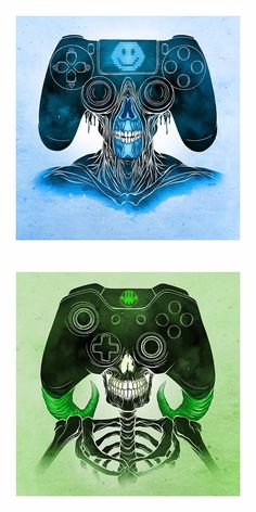 Los guerreros de las consolas. Console Warriors por Alex Pardee.