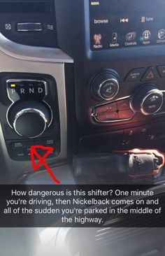 How dangerous is this shifter? One minute you're driving, then Nickelback comes on and all of the sudden you're parked in the middle of highway; The real problem here is that gun placement - The real problem here is that gun placement - iFunny :) Daily Jokes, New Funny Videos, Funny Pins, Funny Stuff, Random Stuff, Random Humor, Kid Memes, Dashcam, School Humor