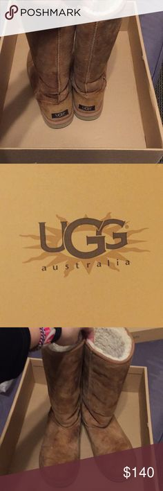 Light brown UGG boots obo Great shape light brown UGG boots. Only worn when below freezing which is hardly ever in Dallas. Selling because my foot grew :/ will come in original box and slip cover. UGG Shoes Winter & Rain Boots
