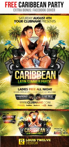 FREE Caribbean Latin Summer Party + Flyer + Fb Cover by Louis Twelve, via Behance Latin Party, Caribbean Party, Photoshop, Fb Covers, Party Flyer, Special Guest, Flyer Template, Facebook, Summer