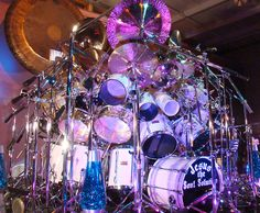 This drum kit is massive and possibly the largest drum setup in the world! Not only does it boast 90 drums and 80 cymbals but it features the world's largest symphonic gong custom made by Paiste cymbals especially for it's owner and creator – Dr Mark Temperato (RevM).