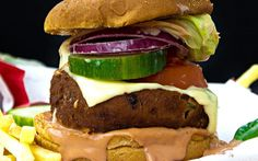 <p>The patties consist of hearty potatoes and a fantastic spice mix, then they're  lightly breaded and then fried. This is the burger you never knew you needed in your life.</p>