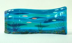 OCEAN DEPTHS fused glass curved panel by fusedglasscouk on Etsy