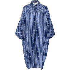 Alena Akhmadullina Sheath Shirtdress (54,325 PHP) ❤ liked on Polyvore featuring dresses, long sleeve shirt dress, knee length dresses, blue print dress, sheath dresses and blue sheath dress