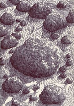 Stone River | by Kevin Lucbert Biro Art, Ballpoint Pen Art, Ap Drawing, Painting & Drawing, Illustrations, Illustration Art, Big Sea, Illusion Art, 2d Art