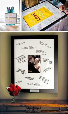 Tendrás siempre presentes a tus invitados. Libros de firmas originales en un portaretrato firmado por los invitados