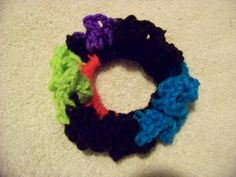 Hair Scrunchies - Hand Crocheted - Neon Colors Black Blue Green Pink (#231) #Scrunchies #Any