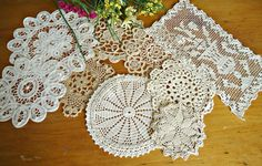 9 Crocheted Doilies Dainty Small Crocheted Doilys White & Ecru Vintage Doilys Doilies  Lot  D5 by TreasureCoveAlly on Etsy