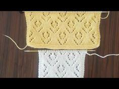 Örgü yelek modelleri yapacak olanlara ajurlu bir model. Bu örgü modeliyle hırkalar, yelekler ve hatta örgü şallar yapılabilir. Lace Knitting Patterns, Knitting Stitches, Knitting Designs, Baby Knitting, Crochet Bikini, Knit Crochet, Cardigan Design, Knitting Videos, Lana