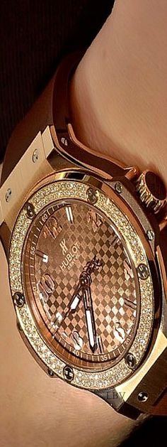 Hublot- Gold Ladies Luxury Timepiece | LBV. Most expensive timepieces. Gold details. Luxury lifestyle. For more decor inspirations: http://designlimitededition.com/