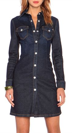 online shopping for HaoDuoYi Womens Boyfriend Denim Button Down Shirt Dress from top store. See new offer for HaoDuoYi Womens Boyfriend Denim Button Down Shirt Dress Trendy Dresses, Casual Dresses, Denim Dresses, Sleeve Dresses, Denim Shirt, Denim Jeans, Amo Jeans, Denim Fashion, Fashion Outfits