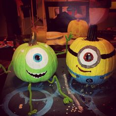 Mike Wazowski and Minion painted pumpkins