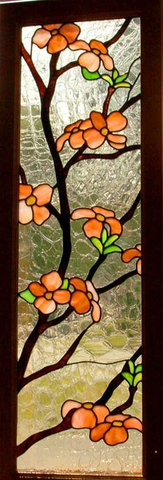Orange Stained Glass Window Panel