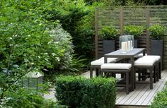fine horizontal wood privacy screen - fence around contemporary deck dining area
