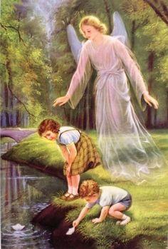 Heiligenbild Schutzengel mit 2 Kindern Postkartenformat