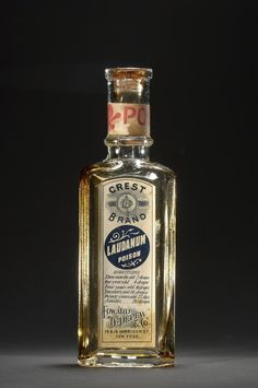 Laudanum, Edward D. Depew  Co., about 1880-1900: Laudanum, a solution of opium and alcohol, was commonly used as a painkiller and a sedative in 19th- and early 20th-century America. In large doses it could also be used as a poison, and figured in several notorious murder cases. Dosage Instructions: Three months old - 2 drops One year old - 4 drops Four years old - 6 drops Ten years old - 14 drops Twenty years old - 25 drops Adult - 30 drops