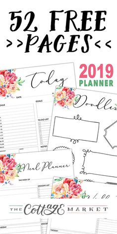 Free Printable 2019 Planner 50 Plus Printable Pages 52 Page Free 2019 Planner The post Free Printable 2019 Planner 50 Plus Printable Pages & Kalender Tagebuch appeared first on Free . Planner 2018, To Do Planner, Planner Layout, Blog Planner, Happy Planner, Project Planner, Family Planner Calendar, Year Planner, School Planner