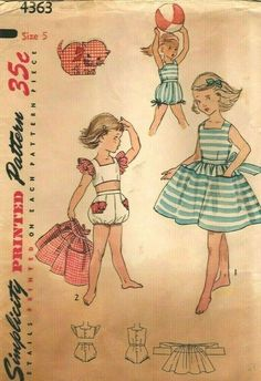 ac5e6e121ba04 Vintage Simplicity Cute Child's Sunsuit/Romper, Skirt, Sewing Pattern 4363  sz 5 #