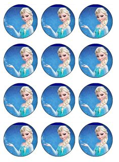 Frozen Birthday Party Queen Elsa Birthday  EDIBLE IMAGE CUPCAKE TOPPERS! http://www.abcedibles.net/   - ABC Edible Cake Art  Yes you can EAT these cupcake toppers! No plastic toppers to throw away, no mess! DIY Birthday cake and cupcake