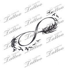 Infinity with feathers and birds tattoo design