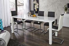 """Lassen Sie den weißen Esstisch """"LUCENTE"""" zum Design-Highlight in Ihren vier Wänden werden! Das zeitlose Design mit Hilfe der hochglanz Lackierung in weiss erfüllt durch die Spiegelungen jeden Raum mit Licht. Modern und gradlinig im Charakter, fügt sich der Tisch in nahezu jedes Wohn-Ambiente ein und passt sich dank der ausziehbaren Tischplatt jeder Räumlichkeit an."""