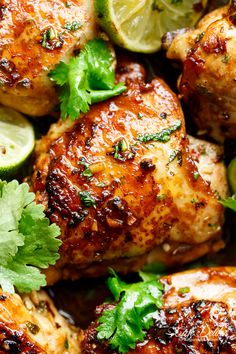 Crispy Cilantro Lime Chicken is juicy on the inside, golden and crisp on the outside, cooked in mouth watering flavourful pan drippings!