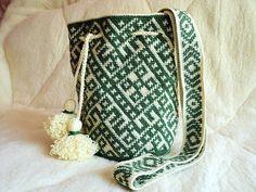 Moderne wayuu mochila tas handgemaakte heidense symbolen Boho zakken Hippie Cross body Bucket Bag schoudertas handtas handtas groen geel