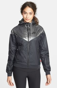 Nordstrom Jackets - Nike 'Windrunner' Hooded Metallic Jacket available at Nike Outfits, Sport Outfits, Casual Outfits, Fashion Outfits, Workout Attire, Workout Wear, Athletic Outfits, Athletic Wear, Nike Running Jacket