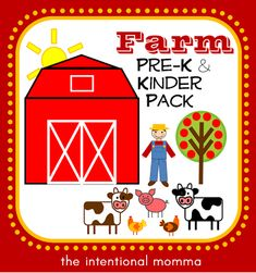Farm unit printable pack for Pre-K and Kindergarten, includes math, literacy, and language for classroom centers or homeschool. Adorable! (30 pages)