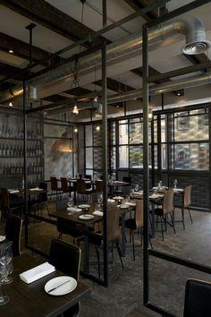 View of Dabbous ground floor restaurant.  #design #interiordesign #hospitality #restaurant #bar #london