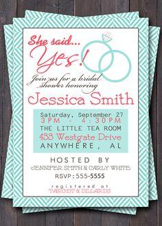 brunch weddings | Wedding Shower Invitation/Invite. Bridal Shower, luncheon, brunch, etc ...