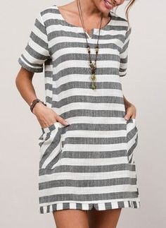 FloryDay / Stripe Short Sleeve Above Knee Shift Dress - Damen Mode 2019 Shift Dresses, Day Dresses, Dress Outfits, Casual Dresses, Fashion Dresses, Spring Dresses, Striped Shorts, Striped Dress, Short Sleeve Dresses